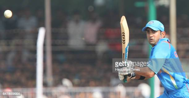 Indian cricketer Gautam Gambhir plays a shot during the third One Day International at the Reliance stadium in Vadodara