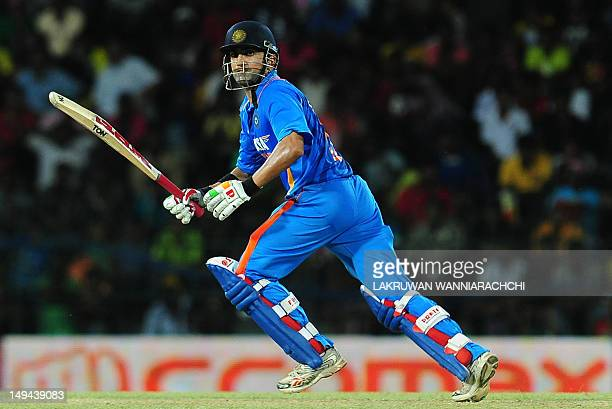 Indian cricketer Gautam Gambhir runs between wickets during the third one day international match between Sri Lanka and India at the RPremadasa...