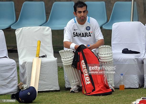 Indian cricketer Gautam Gambhir takes a break during a training session at the Feroz Shah Kotla Stadium in New Delhi on November 4 2011 The West...