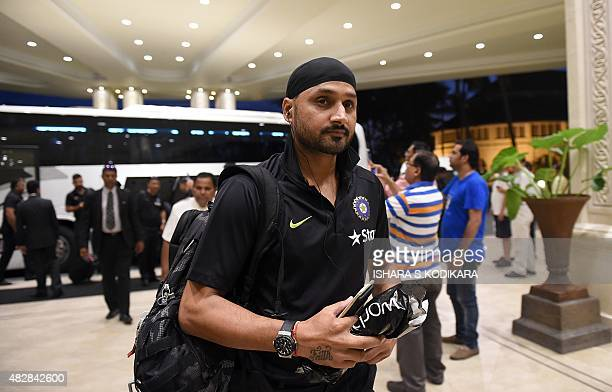 Indian cricketer Harbhajan Singh arrives at a hotel in Colombo on August 3 2015 India will play three Test series matches in Sri Lanka between August...