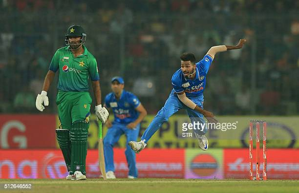 Indian cricketer HH Pandya delivers a ball during the match between India and Pakistan at the Asia Cup T20 cricket tournament at the ShereBangla...