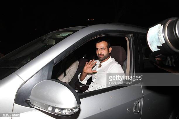 Indian cricketer Irfan Pathan arrives to attend the wedding ceremony of Indian cricketer Suresh Raina at Leela Palace Hotel on April 3 2015 in New...