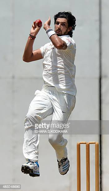 Indian cricketer Ishant Sharma delivers a ball during the second day of the threeday warmup match between Sri Lanka Board President's XI and India at...