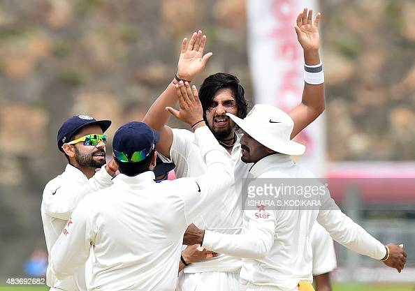 Indian cricketer Ishant Sharma Indian cricket team captain Virat Kohli and teammates celebrate after dismissing unseen Sri Lankan batsman Dimuth...