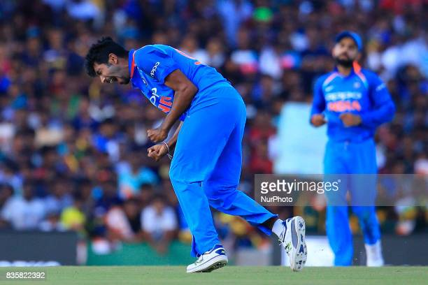 Indian cricketer Jasprit Bumrah celebrates after taking a wicket during the 1st One Day International cricket match bewtween Sri Lanka and India at...
