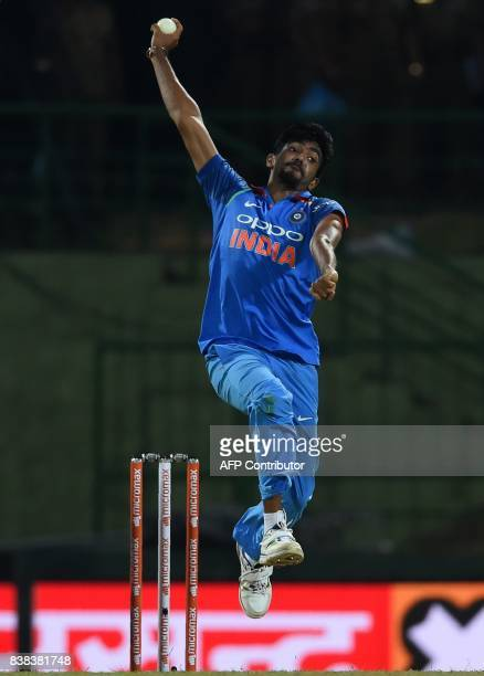 Indian cricketer Jasprit Bumrah delivers the ball during the second one day international cricket match between Sri Lanka and India at the Pallekele...