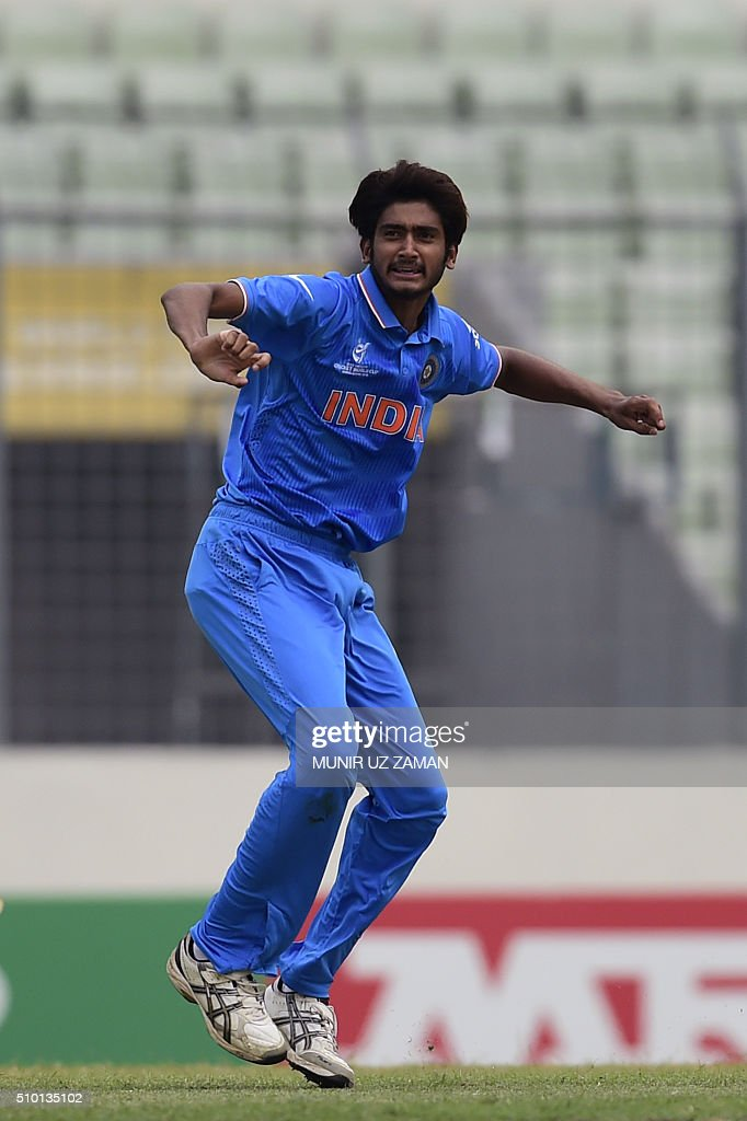 Indian cricketer Khaleel Ahmed reacts after the dismissal of the West Indies cricketer Tevin Imlach during the under-19s World Cup cricket final between India and West Indies at the Sher-e-Bangla National Cricket Stadium in Dhaka on February 14, 2016. AFP PHOTO/Munir uz ZAMAN / AFP / MUNIR UZ ZAMAN