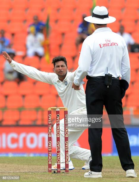 Indian cricketer Kuldeep Yadav unsuccessfully appeals for a Leg Before Wicket decision against Sri Lankan cricketer Angelo Mathews during the third...