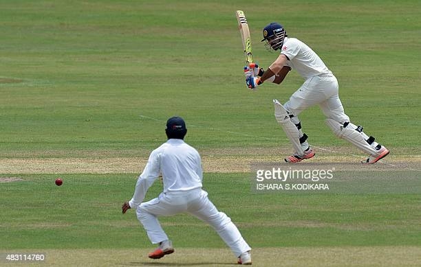 Indian cricketer Lokesh Rahul plays a shot during the first day of the threeday warmup cricket match between Sri Lanka Board President's XI and India...