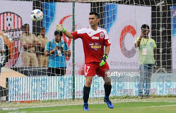 Indian cricketer Mahendra Singh Dhoni plays in the Celebrity Clasico 2016 charity football match organized by the Virat Kohli Foundation and Playing...