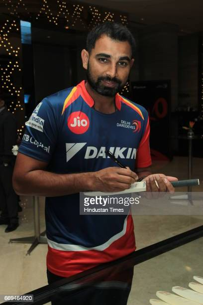 Indian Cricketer Mohammed Shami at a party hosted by Daikin to celebrate the three years of togetherness with Delhi Daredevils team at Hotel Pullman...