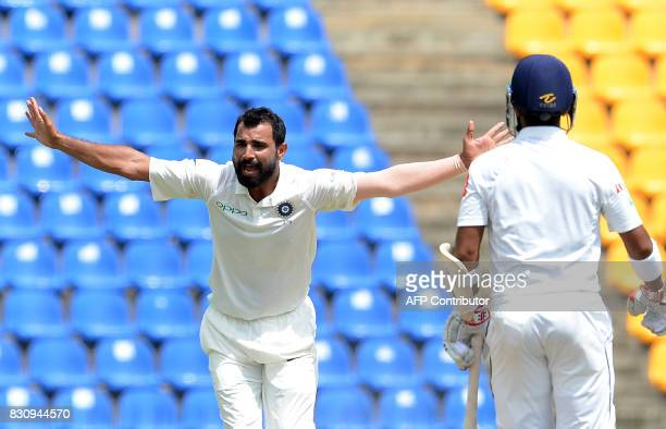 Indian cricketer Mohammed Shami unsuccessfully appeals for a Leg Before Wicket decision against Sri Lankan cricket captain Dinesh Chandimal during...
