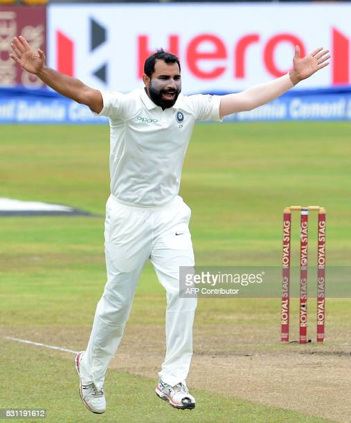 Indian cricketer Mohammed Shami unsuccessfully appeals for a Leg Before Wicket decision against Sri Lankan cricketer Malinda Pushpakumara during the...