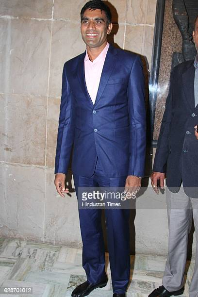 Indian Cricketer Munaf Patel during the wedding reception of Indian Cricketer Yuvraj Singh and Bollywood actor Hazel Keech at ITC Maurya on December...