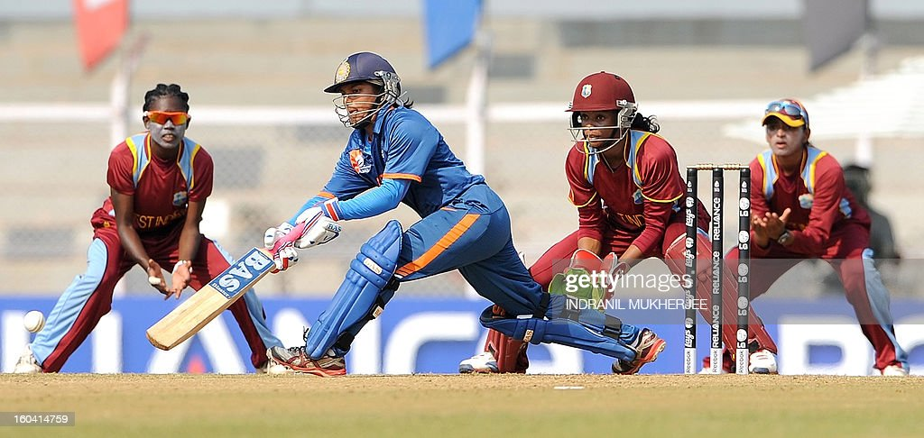 Indian cricketer Punam Raut plays a shot during the inugural match of the ICC Women's World Cup 2013 between India and West Indies at the Cricket Club of India's Brabourne stadium in Mumbai on January 31, 2013. Teams from Australia, England, New Zealand, Pakistan, South Africa, Sri Lanka, West Indies join hosts India for the global event which is being played from 31 January to 17 February. The women's World Cup opened in Mumbai with the cricketers hoping to put aside memories of the unsavoury build-up and gain their due recognition in a country where the men's game reigns supreme. AFP PHOTO/ Indranil MUKHERJEE