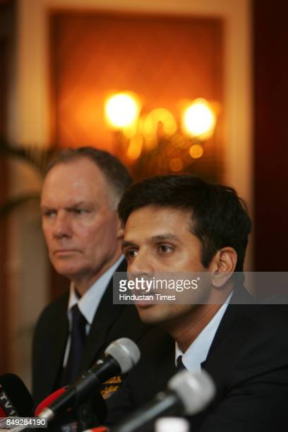 Indian cricketer Rahul Dravid and coach Greg Chappell