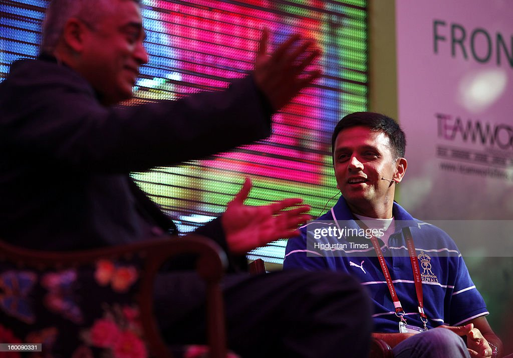 Indian cricketer Rahul Dravid at the Jaipur Literature Festival on January 26, 2013 in Jaipur, India. 2013 DSC Jaipur Literature Festival is largest literary festival of Asia-Pacific and will be held from January 24 to January 28.