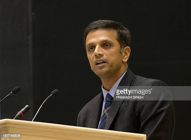 Indian Cricketer Rahul Dravid delivers his speech during an international conference of Central Bureau of Investigation and State anticorruption...