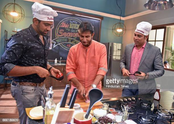 Indian Cricketer Ravichandran Ashwin former Indian cricket players Sandeep Patil and VVS Laxman on the set of a food show called Taste Match a new...