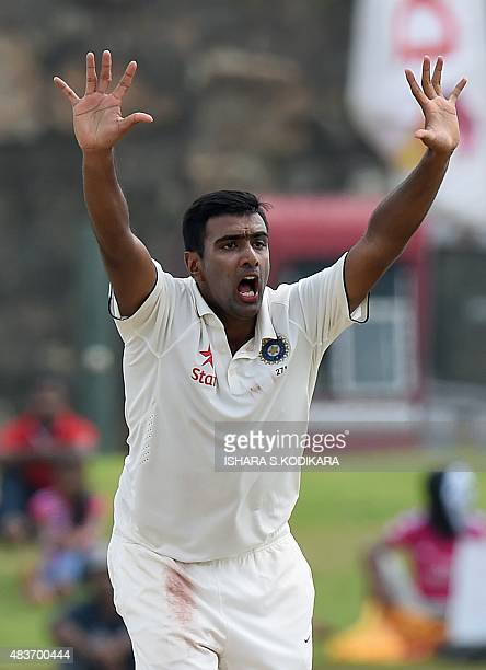 Indian cricketer Ravichandran Ashwin successfully appeals for a Leg Before Wicket decision against Sri Lankan cricketer Rangana Herath during the...