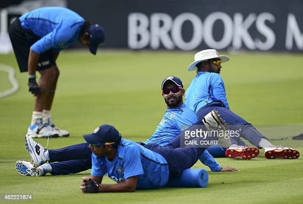 Indian cricketer Ravindra Jadeja and teammates attend a training session at Lords cricket ground in London on July 16 ahead of the 2nd Test match...