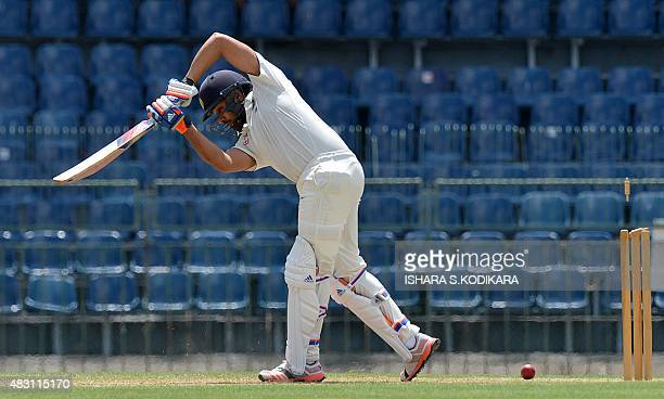 Indian cricketer Rohit Sharma gets dismissed during the first day of the threeday warmup match between Sri Lanka Board President's XI and India at...