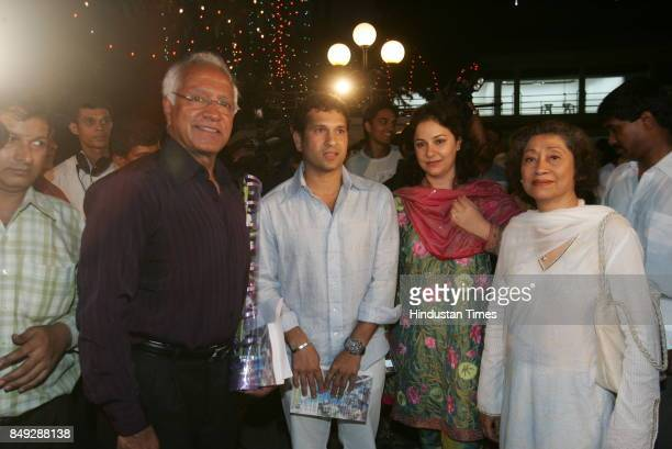 Indian cricketer Sachin Tendulkar and Anjali Tendulkar with Khalid Ansari