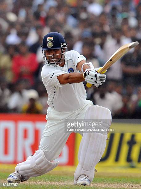 Indian cricketer Sachin Tendulkar bats during the third day of the second Test match between India and Sri Lanka at The Galle International Cricket...