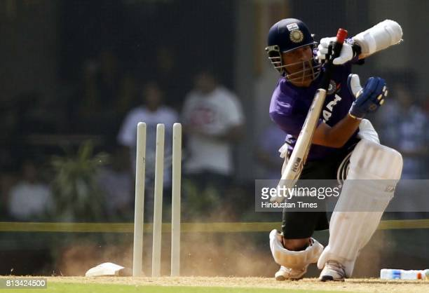 Indian Cricketer Sachin Tendulkar plays a shot during practice session at Brabourne stadium in MUMBAI INDIA on Sunday November 11 2012