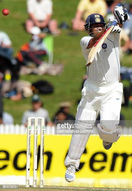 Indian cricketer Sachin Tendulkar plays a shot during the third day of the first Test match between India and New Zealand at the Seddon Park Stadium...
