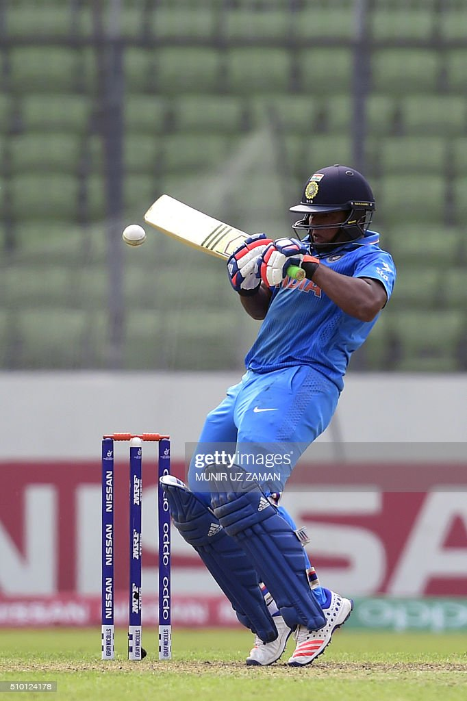 Indian cricketer Sarfaraz Khan plays a shot during the under-19s World Cup cricket final between India and West Indies at the Sher-e-Bangla National Cricket Stadium in Dhaka on February 14, 2016. AFP PHOTO/Munir uz ZAMAN / AFP / MUNIR UZ ZAMAN