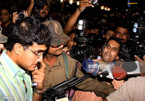 Indian cricketer Sourav Ganguly arrives at the airport on the eve of the Indian Premier League players' auction in Mumbai on February 19 2008 Top...