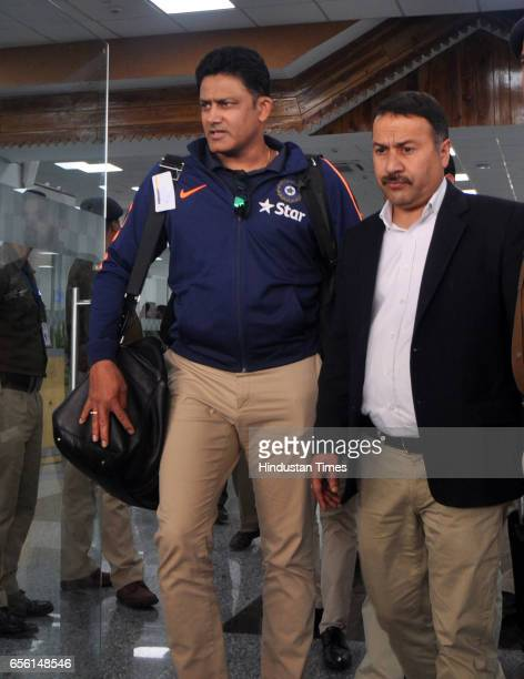 Indian Cricketer team coach Anil Kumble arrives at Dharamsala Airport on March 21 2017 in Dharamsala India The fourth and last Test Match of...