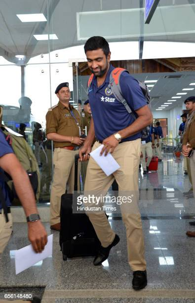 Indian Cricketer team player R Ashwin arrives at Dharamsala Airport on March 21 2017 in Dharamsala India The fourth and last Test Match of...