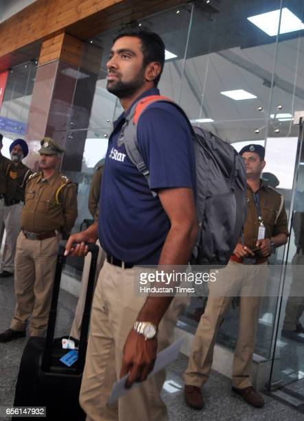 Indian Cricketer team player Ramchandra Ashwin arrives at Dharamsala airport on March 21 2017 in Dharamsala India The fourth and last Test Match of...