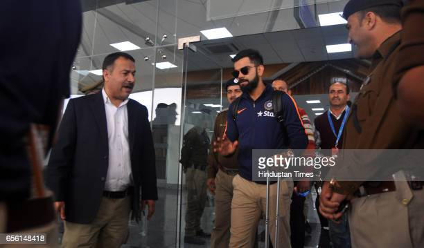 Indian Cricketer team skipper Virat Kohli arrives at Dharamsala Airport on March 21 2017 in Dharamsala India The fourth and last Test Match of...