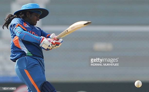 Indian cricketer Thirush Kamini plays a shot during the inugural match of the ICC Women's World Cup 2013 between India and West Indies at the Cricket...
