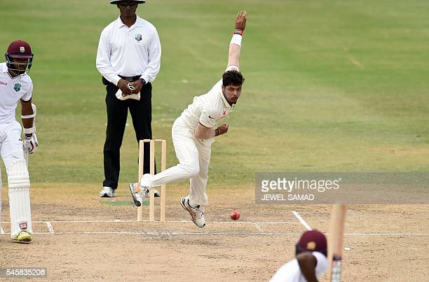 TOPSHOT Indian cricketer Umesh Yadav delivers a ball during the second day of a twoday tour match between India and WICB President's XI squad at the...