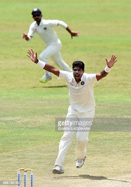 Indian cricketer Umesh Yadav successfully appeals for a Leg Before Wicket decision against Sri Lankan cricketer Kusal Perera during the fifth and...
