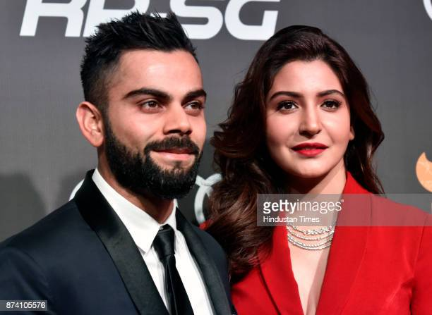 Indian Cricketer Virat Kohli and Bollywood actress Anushka Sharma during inaugural Indian Sports Honours at Grand Hyatt Kalina on November 11 2017 in...