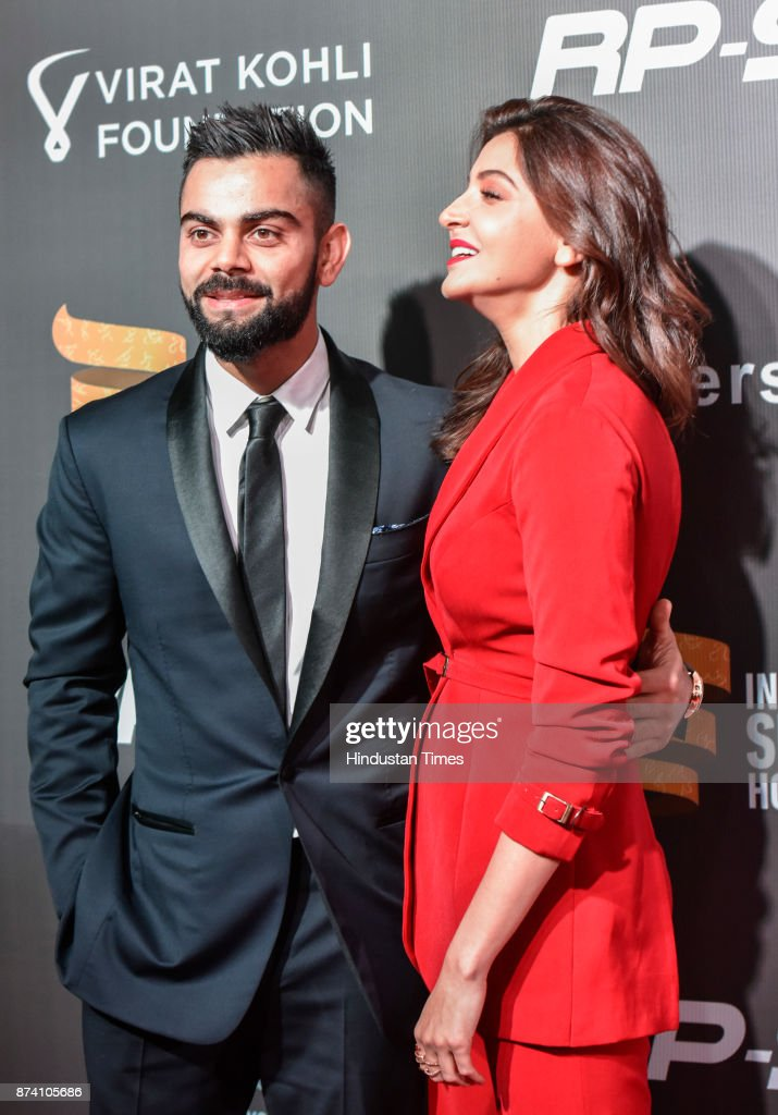 Indian Cricketer Virat Kohli and Bollywood actress Anushka Sharma during inaugural Indian Sports Honours at Grand Hyatt, Kalina, on November 11, 2017 in Mumbai, India.