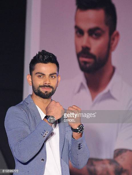 Indian cricketer Virat Kohli poses for a photograph during a promotional event in Mumbai on February 16 2016 AFP PHOTO / STR / AFP / STRDEL