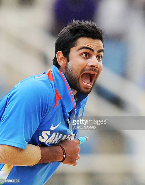 Indian cricketer Virat Kohli unsuccessfully appeals for a LBW against West Indies batsman Ramnaresh Sarwan during the fifth One Day International...