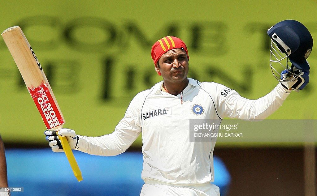 Indian cricketer Virender Sehwag celebra : News Photo