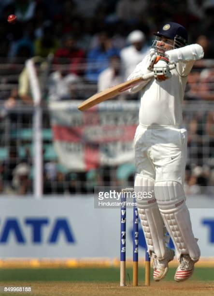 Indian cricketer Virender Sehwag dismissal by England's Matthew Hoggard on the second day of the third Test match between India and England at the...