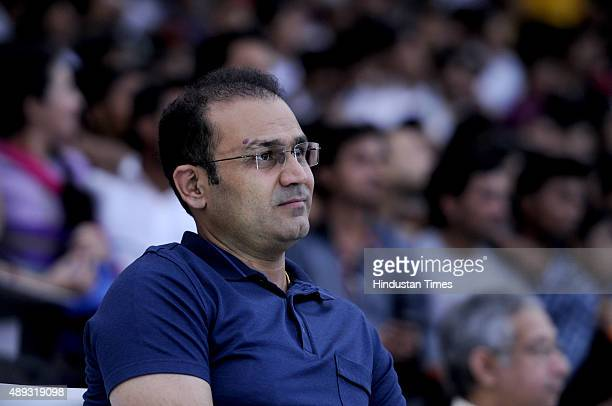 Indian cricketer Virender Sehwag during the HT GIFA grand opening ceremony event in Tau Devi Lal stadium on September 20 2015 in Gurgaon India HT...