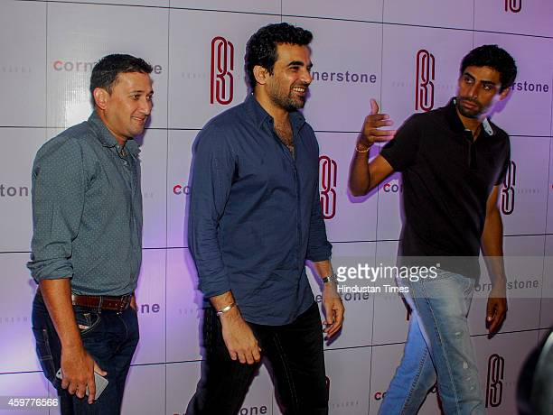 Indian cricketers Ajit Agarkar Zaheer Khan and Ashish Nehra during felicitation ceremony of cricketer Rohit Sharma who hit a worldrecord double...