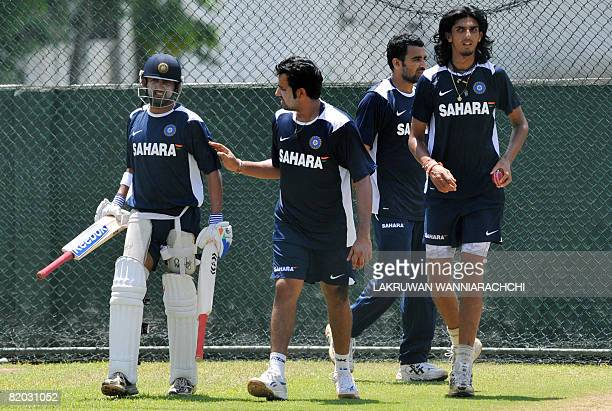 Indian cricketers Gautam Gambhir Rohit Sharma Zaheer Khan and Ishant Sharma take part in a practice session at the Sinhalese Sports Club Ground in...