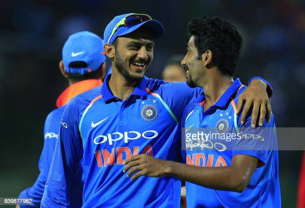 Indian cricketers Jasprit Bumrah and Axar Patel walk back to pavilion at the end of Sri Lankan innings during the 3rd One Day International cricket...