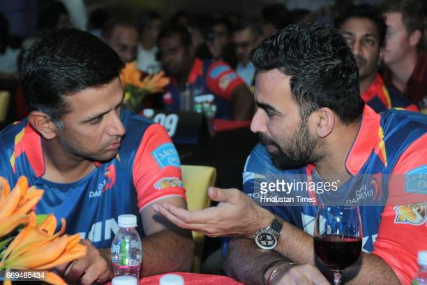 Indian Cricketers Rahul Dravid and Zaheer Khan at a party hosted by Daikin to celebrate the three years of togetherness with Delhi Daredevils team at...
